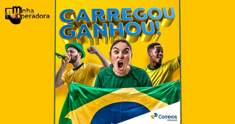 Correios Celular dá R$ 15 de recarga em dias de jogos do Brasil