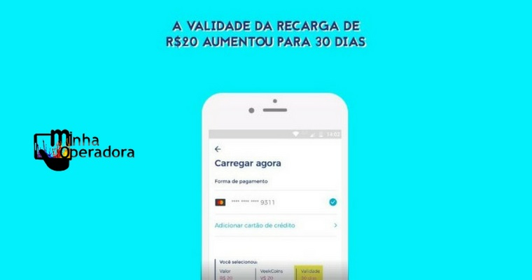 A pedidos, Veek aumenta validade de recarga de 20 reais