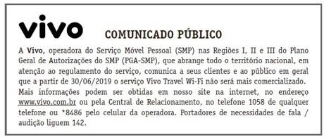 Comunicado Público da Vivo - Encerramento Vivo Travel WiFi