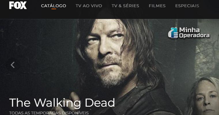 Página da FOX Play. Divulgação da série The Walking Dead