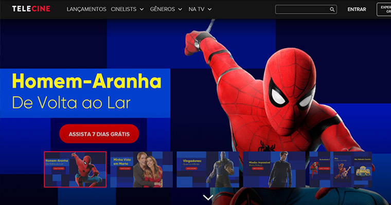Homepage do Telecine
