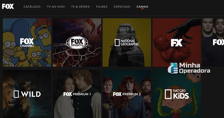 Homepage do FOX Play