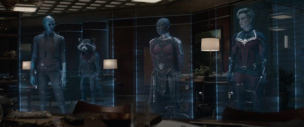 Hologramas em cena do filme Vingadores Ultimato. Imagem: Walt Disney Pictures