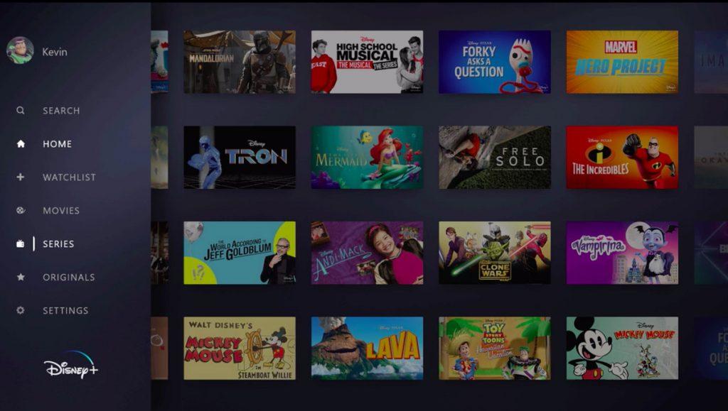 Séries e filmes do Disney+