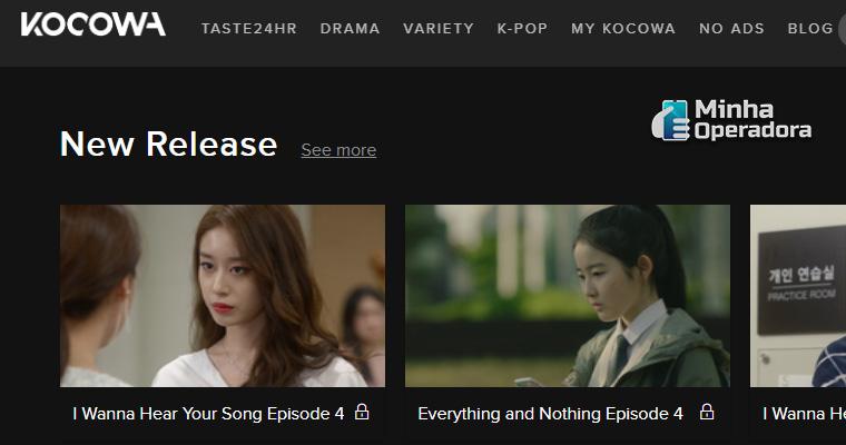 Homepage do KOCOWA