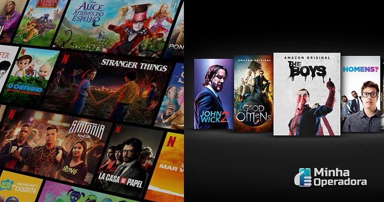 Imagem: Homepage da Netflix e Amazon Prime Vídeo