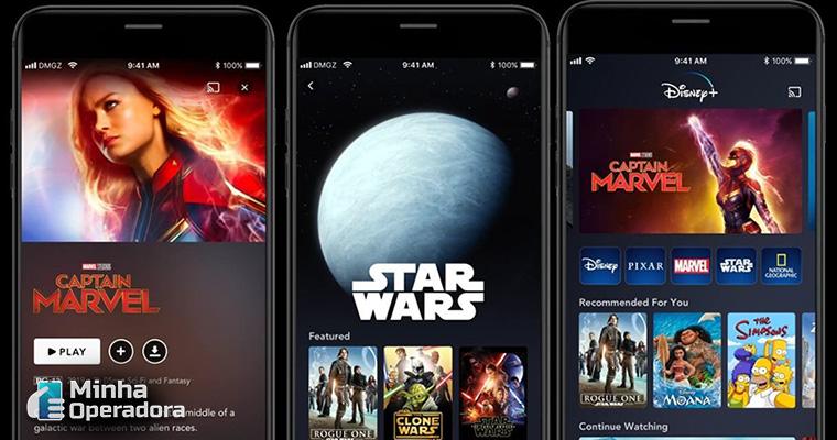 Smartphone com o aplicativo Disney+