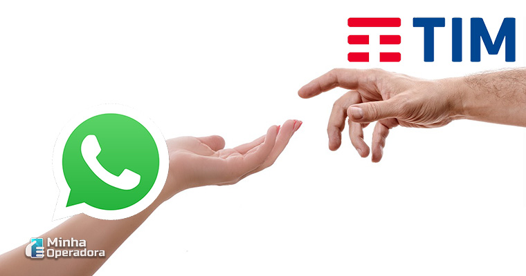 Ilustração TIM e WhatsApp