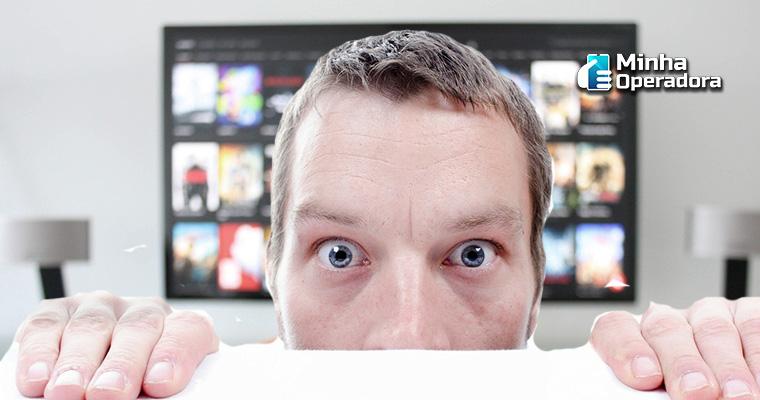Homem com problemas na TV. Ilustração