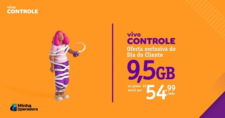 Vivo Controle oferece oferta de 9,5GB de internet por R$ 54,99 por mês para o dia do cliente