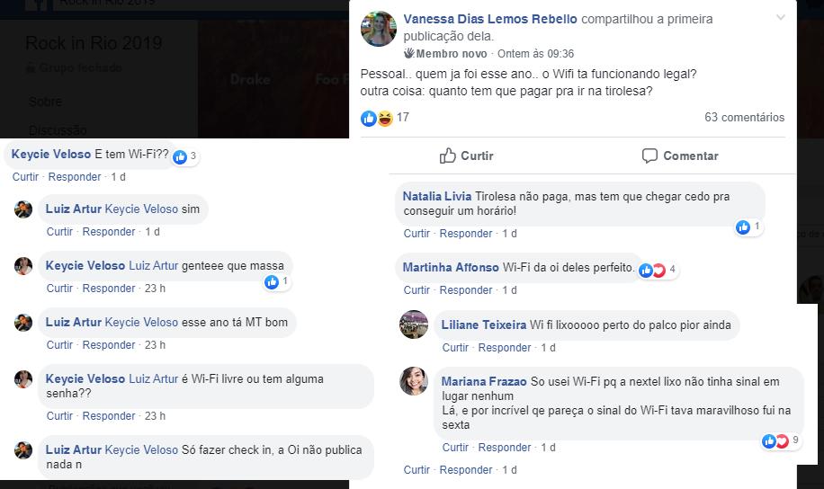 """Comentários do grupo """"Rock in Rio 2019"""" no Facebook"""