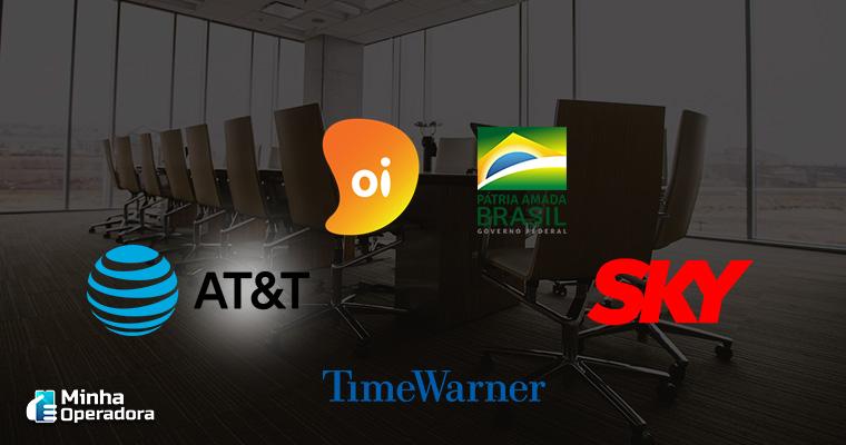 Ilustração com logotipo das empresas