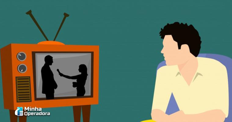 Ilustração: Homem assistindo TV