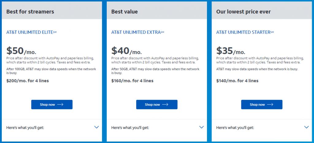 Planos da AT&T