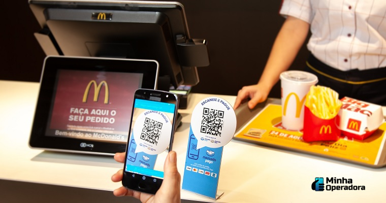pagando no Mc Donald's com código QR via Mercado Pago
