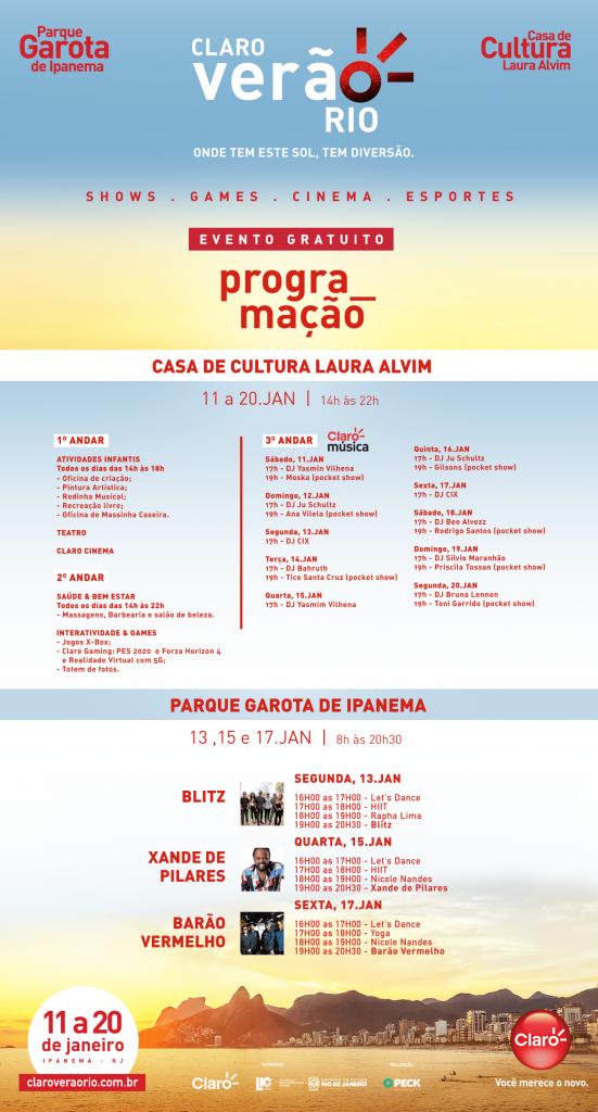 Programação do Claro Verão Rio