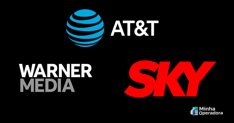 Logotipo das marcas AT&T, SKY e WarnerMedia