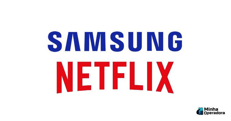 Logo da Netflix e Samsung