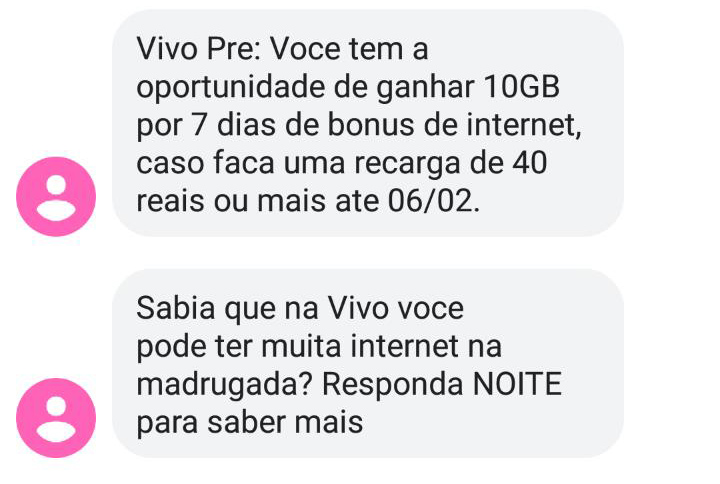 SMS com a oferta enviado pela Vivo