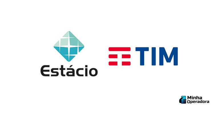 Logotipo Estácio e TIM