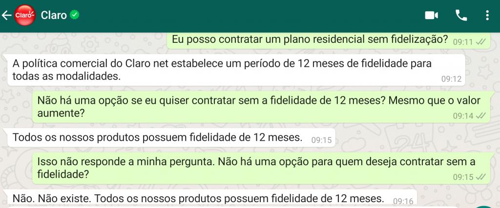 Atendimento comercial da Claro no WhatsApp