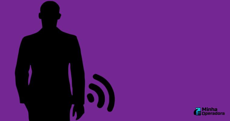 Ilustração - Pessoa com sinal Wi-Fi
