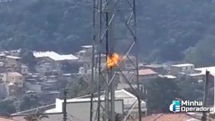Incêndio atinge torre da Claro