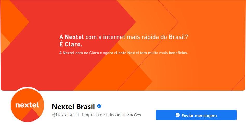 Atualização da Nextel nas redes sociais.