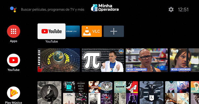 Menu da Android TV com aplicativos de streaming.