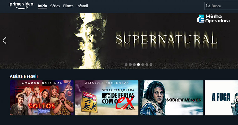 Interface do Amazon Prime Vídeo