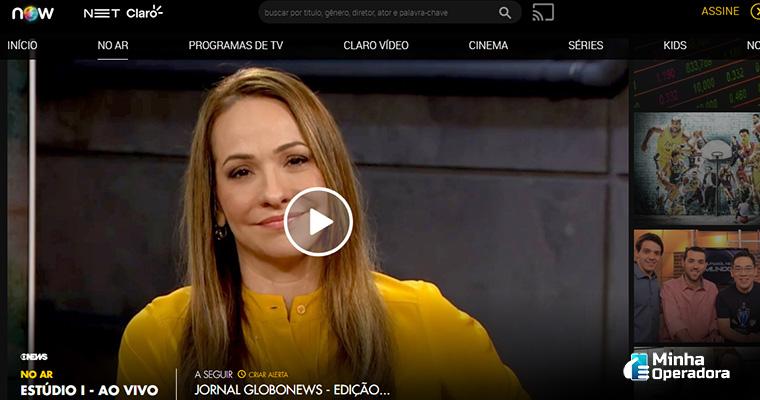 Interface de canais ao vivo do NOW