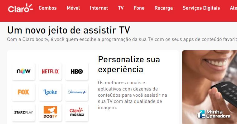 Página de venda do Claro TV Box