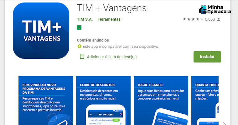 TIM + Vantagens na Play Store