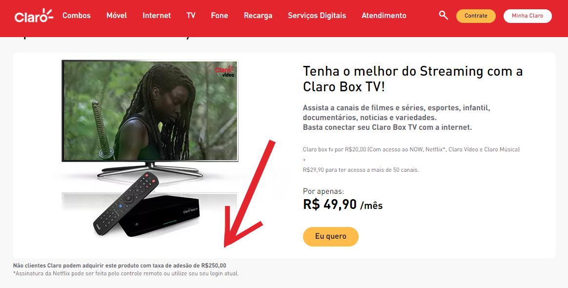 Taxa de adesão do Claro TV Box