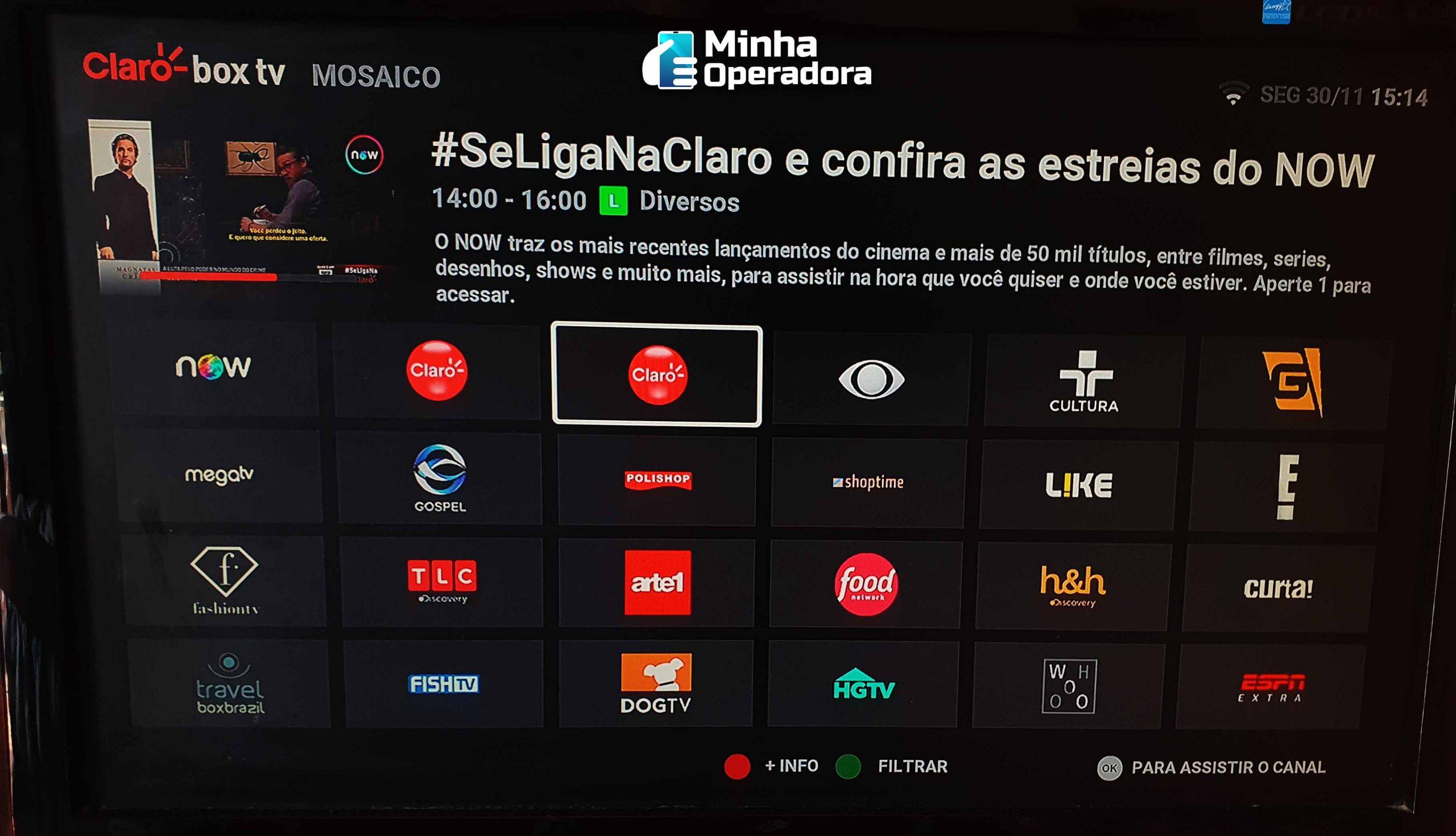 Canais do Claro Box TV