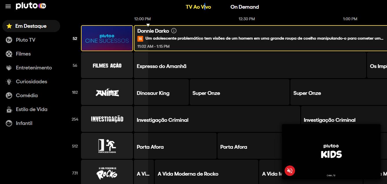 Canais da Pluto TV