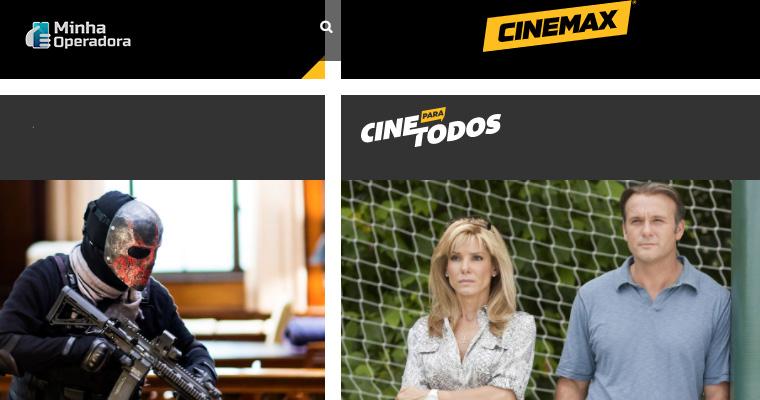 Interface do site do canal Cinemax, que ganha sinal aberto na SKY.