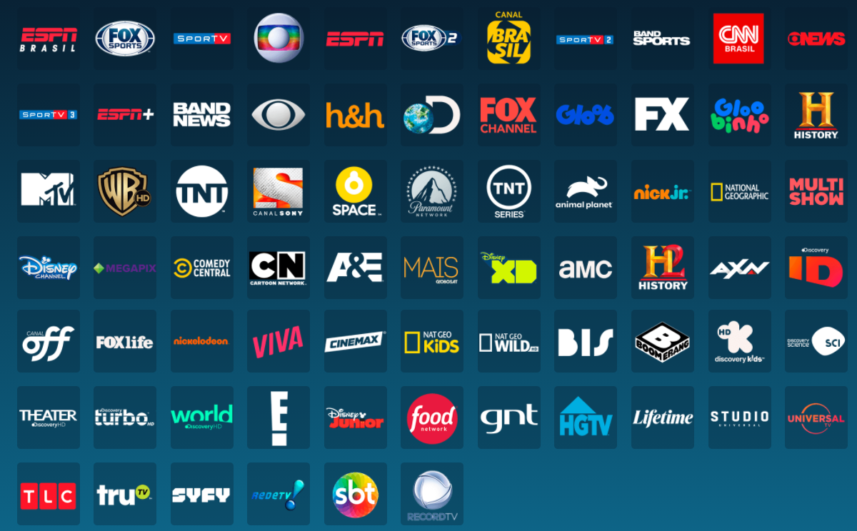 Canais do DirecTV Go