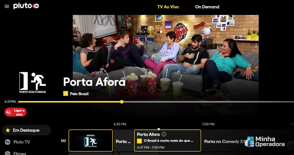 Interface da Pluto TV