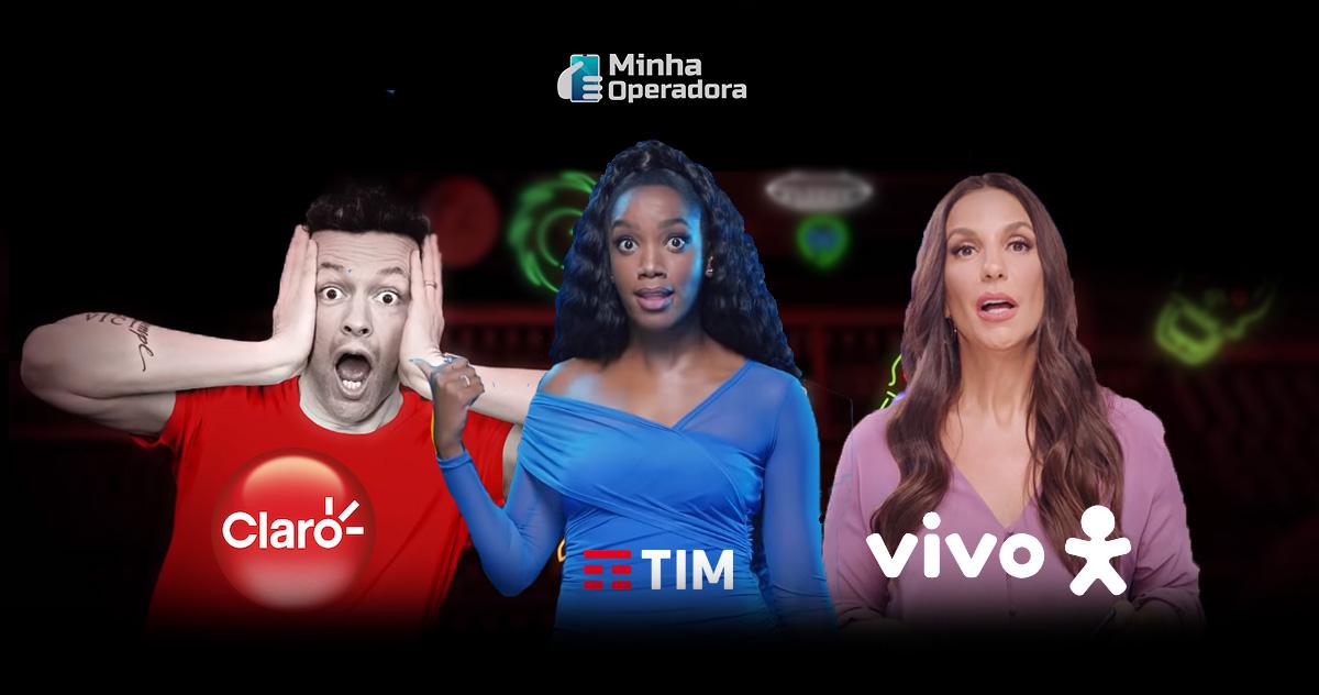 Lucas Lima, IZA e Ivete Sangalo, estrelas da Claro, TIM e Vivo. Imagem: Reprodução YouTube