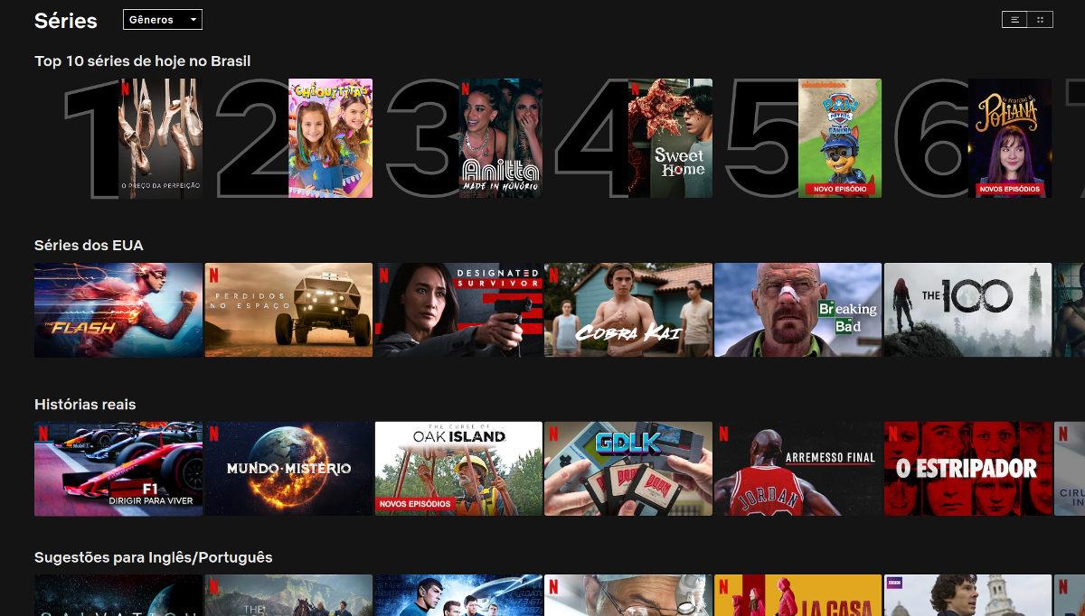 """Menu de """"séries"""" da Netflix"""