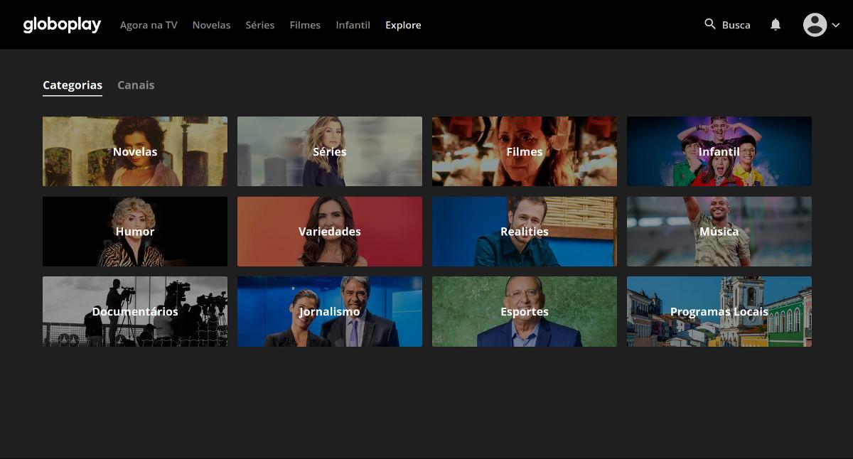 Menu explore do serviço de streaming da Globo.