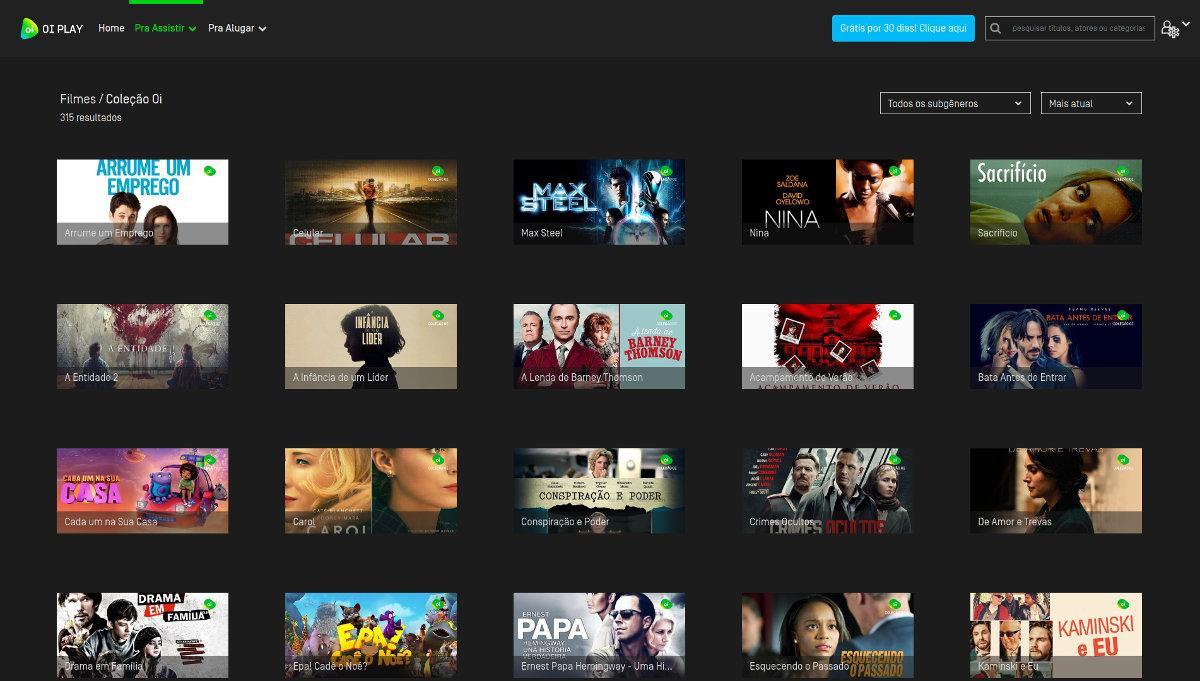 Exemplos de filmes disponíveis no serviço de streaming
