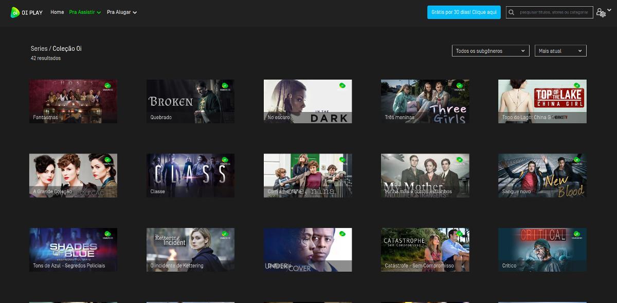 Exemplos de séries no catálogo do serviço de streaming