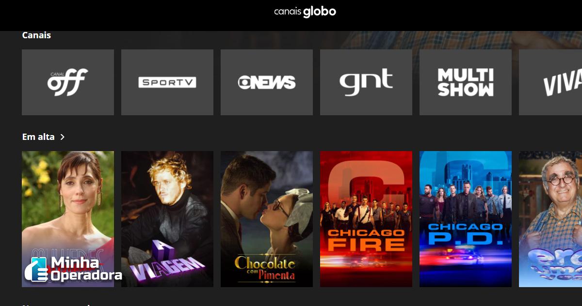 Canais Globo - Interface