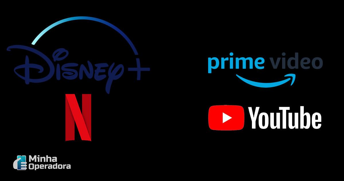Logotipos Disney+, Prime Video, Netflix e Youtube.