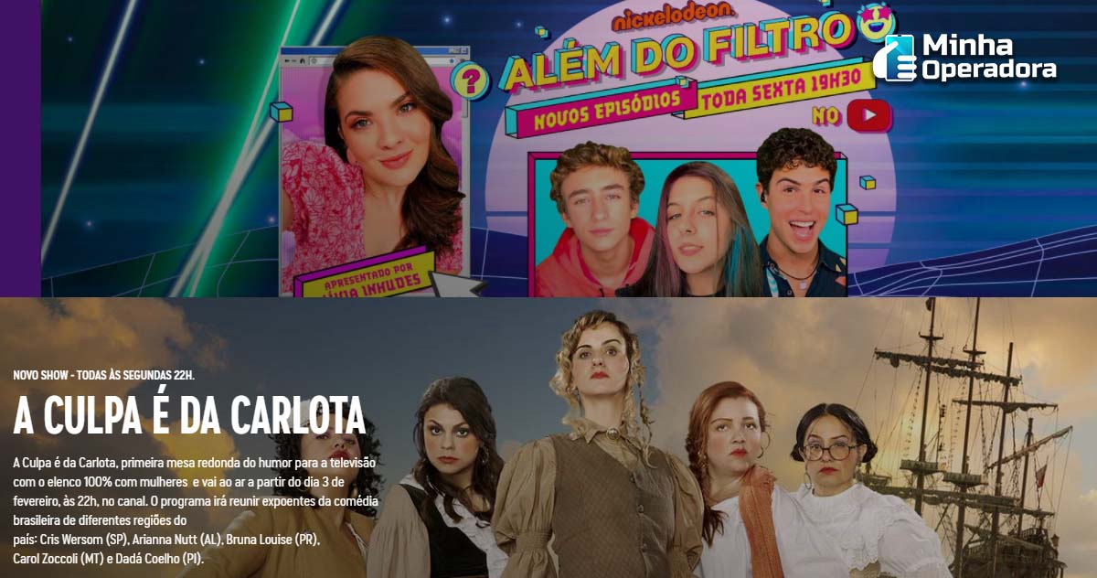 Site da NICK e Comedy Central