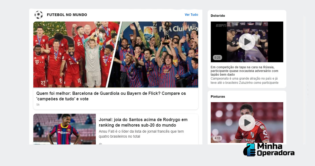 Interface do site da ESPN