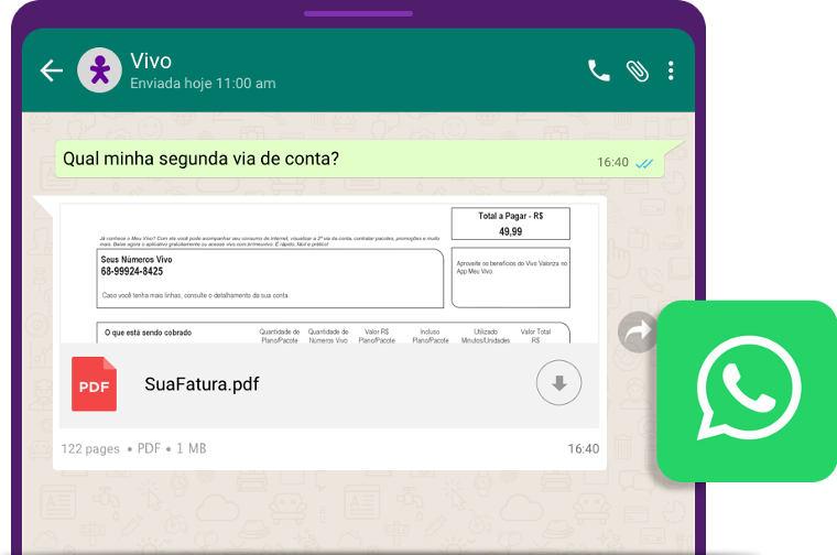 Exemplo de atendimento da Vivo pelo WhatsApp.