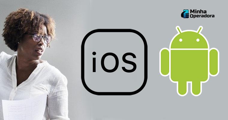 Mulher reagindo aos Android e iOS, com a coleta de dados.